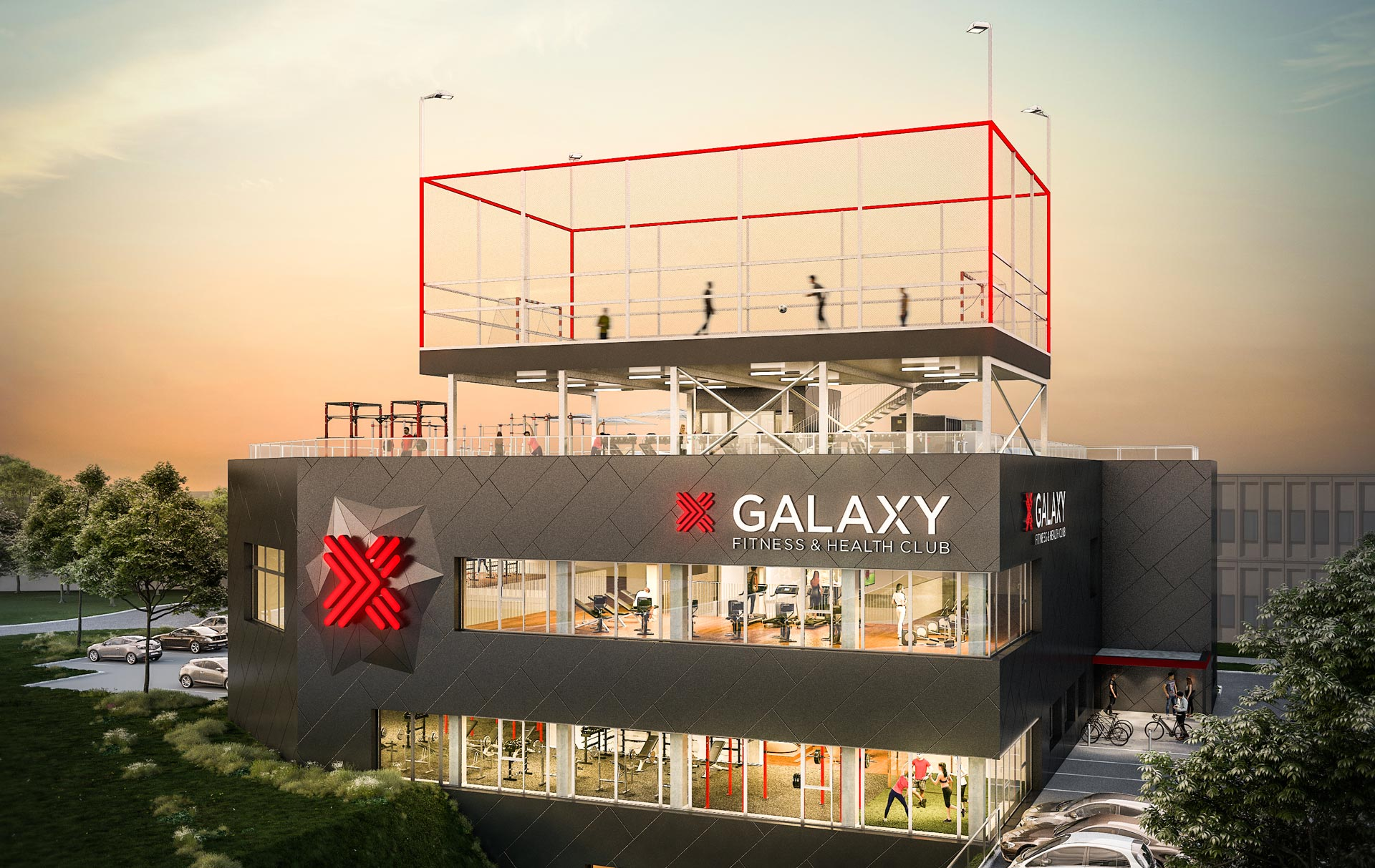 Rendering des Galaxy Fitness and Health Club Projekts